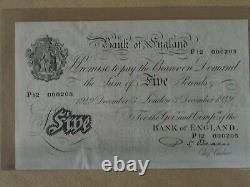 Old Bank of England white £5 note. BealeP12 000205. Low serial number. 1949