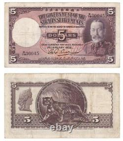RARE 1935 Straits Settlements King George V $5 Dollar Banknote P17b