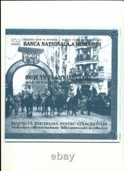 ROMANIA 100 lei 2018 UNC Polymer Banknote FOLDER anniversary Great UNION Unire R