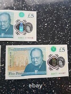 Rare 5 pound notes ak47, aa01, ak46