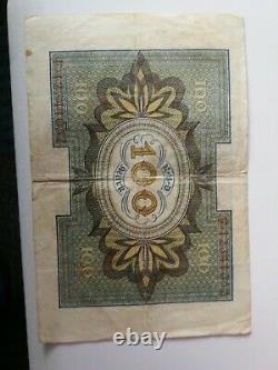 Reichsbanknote Deutsches Reich 100 Mark Rbd Rarität Serial F. 12341052