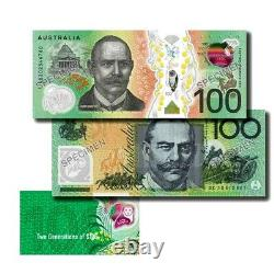 Reserve Bank of Australia Two Generations $100 Uncirulated Banknote Pair Folder