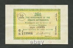 STRAITS SETTLEMENTS 10 cents 1919 P6c About EF Banknotes