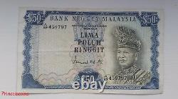 Scarce1967-72 Series Malaysia Rm 50 Ringgit Lima Puluh Banknote Ef A/97 45979