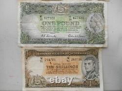 Set 4 Australian Pre-Decimal 10/- £1, £5, £10 Banknotes Very Scarce
