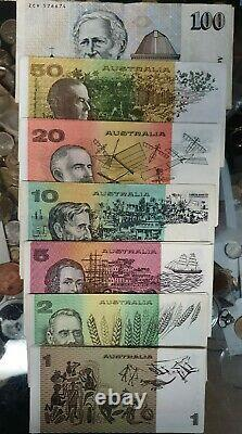Set of 7 AUSTRALIAN PAPER BANKNOTES, CIRCULATED, $100 $50 $20, $10x2, $5 $2. $1