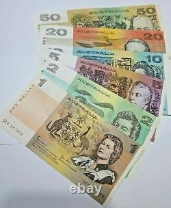 Set of AUSTRALIAN PAPER BANKNOTES, CIRCULATED $50 $20, $10, $5 $2. $1, Very Nice