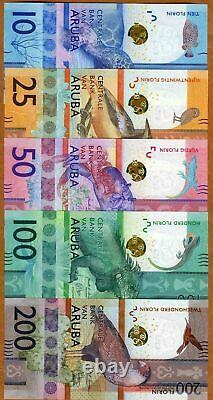 Ships from USA Aruba 2019 Full Set UNC Banknotes 10-25-50-100-200 AFL Florins