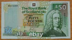 The Royal Bank of Scotland, £50 pounds, 2005, serial no. RBS 12204