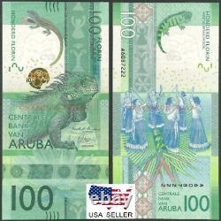 UNC 100 Aruba Florins RARE Uncirculated 2019 BANKNOTE USA Seller