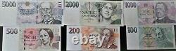 UNC set of Czech banknotes 100 5000 Korun, SELECTION POSSIBLE