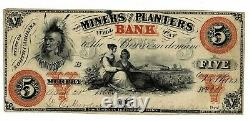 USA 1860 $5 Miners & Planters Bank Obsolete Note With Slaves On Obverse