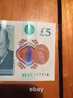 Very unique Bank Of England Polymer £5 Five Pound Note Genuine New Ak47177714