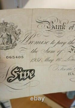 White Fiver Old £5 Five Pound English Bank Note Beale 1951 Collectable