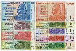 Zimbabwe 1 Billion to 100 Trillion Dollars banknotes 2008 full set UNC currency