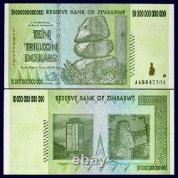 Zimbabwe 10 Trillion Dollars 100 Pieces Bundle AA/2008 Banknote UNC P-88