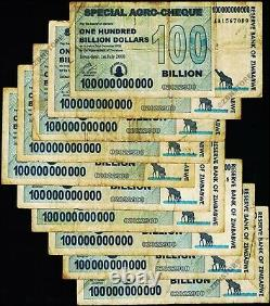 Zimbabwe 100 Billion Dollars Special Agro Cheque x 10 Banknotes 2008 AA AB Used