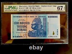 Zimbabwe 100 Trillion Banknote ZA Replacement 2008 P-91 PMG-67 EPQ GEM UNC