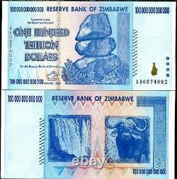 Zimbabwe 100 Trillion Dollars 2008 P 91 Aa Banknote Uncirculated Unc