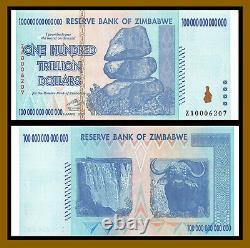 Zimbabwe 100 Trillion Dollars, 2008 P-91 Low S/N Replacement (ZA) Banknote (Au)