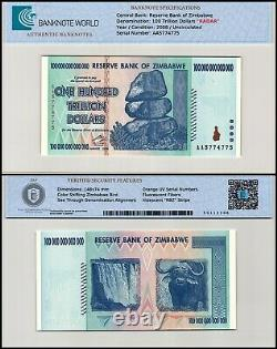 Zimbabwe 100 Trillion Dollars Banknote, 2008, P-91, UNC, Radar Serial # AA577477