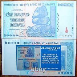 Zimbabwe 100 Trillion Dollars Banknote! Cheap! Shipped From USA