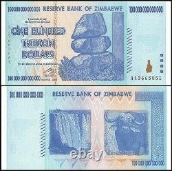 Zimbabwe 100 Trillion Dollars Banknotes 25 Pcs Lot 1/4 Bundle UNC AA+ 2008 P91