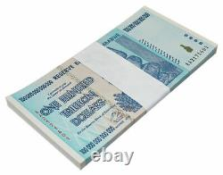 Zimbabwe 100 Trillion Dollars Banknotes 25 Pcs Lot AA+ 2008 UNC 1/4 Bundle P91