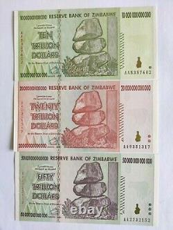 Zimbabwe Trillion Dollars set 10, 20, 50 Notes. UNC set of 3 all AA Prefix