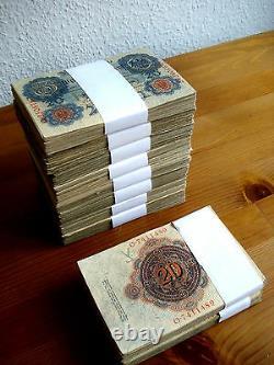 Zwanzig Mark 20 Mark von 1910 und 1914 (1000 Stück) Reichsbanknote konvolut